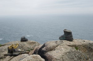 Pilgrim's walking boots left at Finisterre